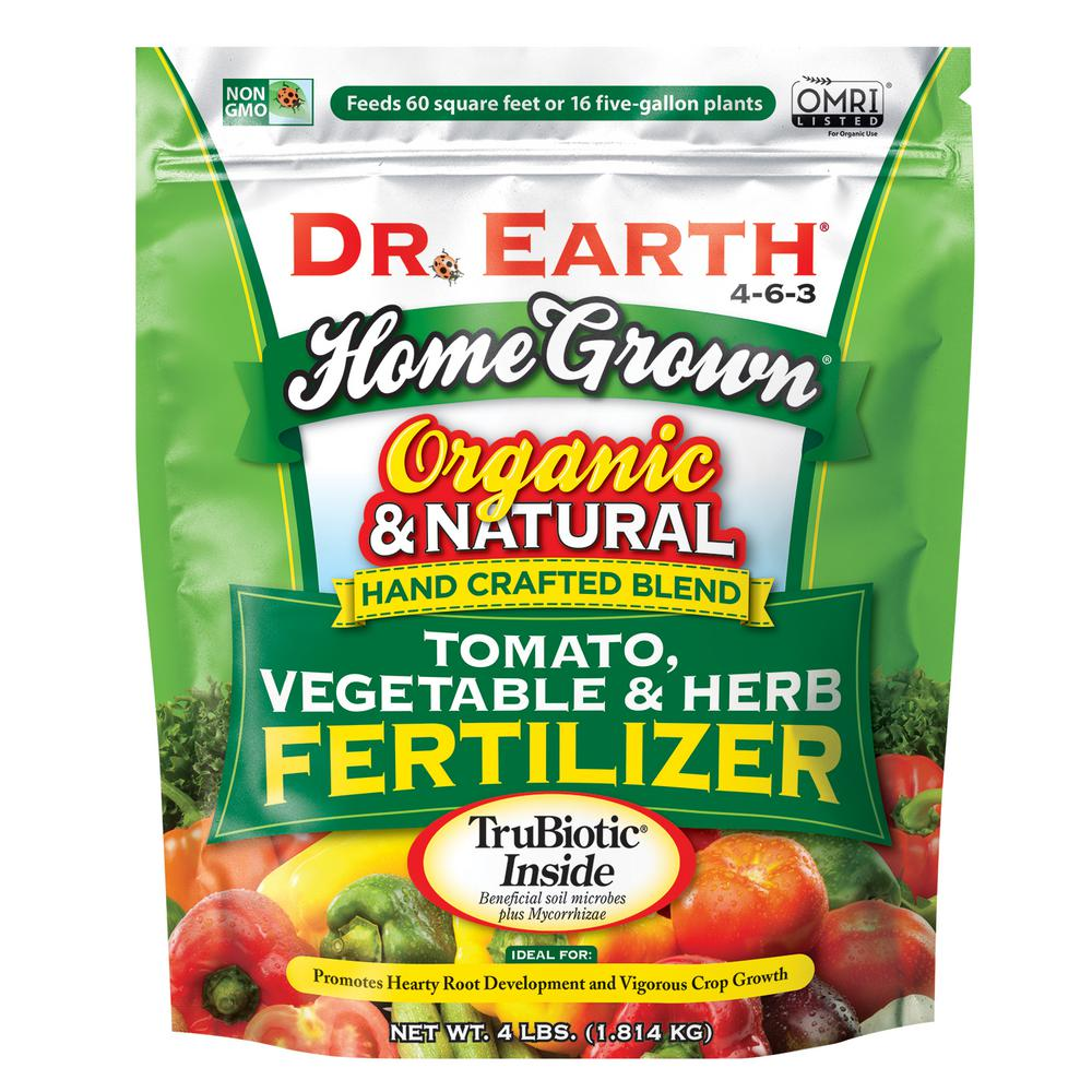 DR. EARTH 4 lbs. 60 sq. ft. Organic Home Grown Tomato Vegetable and Herb Dry Fertilizer
