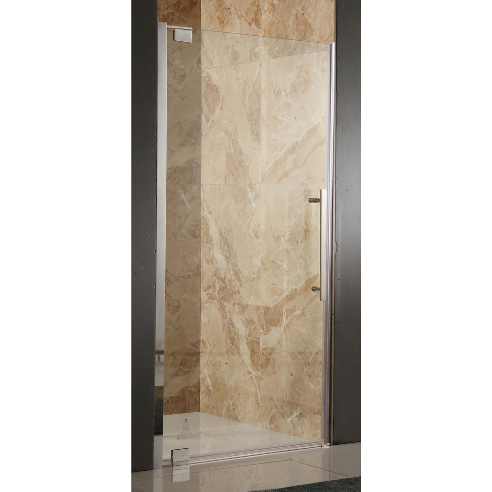 Bishop 36 in. x 72 in. Semi-Frameless Pivot Shower Door in