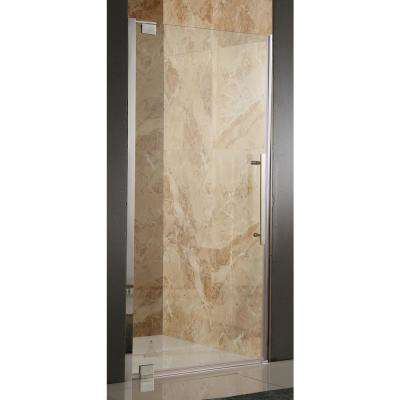 Bishop 36 in. x 72 in. Semi-Frameless Pivot Shower Door in Brushed Nickel with Handle