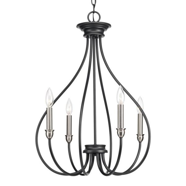 Whisp Collection 4-Light Graphite Chandelier with Brushed Nickel Accents