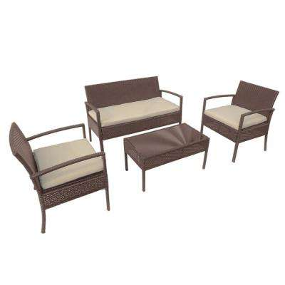 Linosa 4-Piece Rattan Furniture Set in Brown