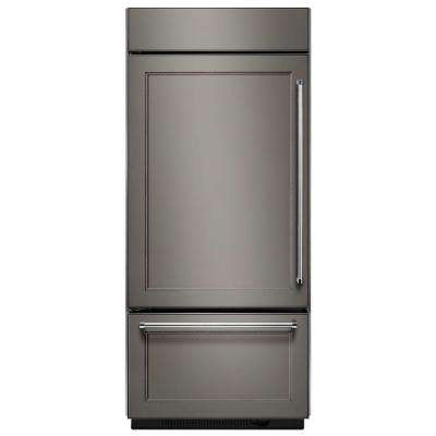 36 in. W 20.9 cu. ft. Built-In Bottom Freezer Refrigerator, Panel Ready with Platinum Interior