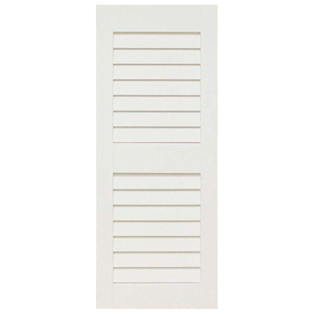 Home Fashion Technologies Plantation 14 in. x 59 in. Solid Wood Louver Exterior Shutters Behr Primed-DISCONTINUED