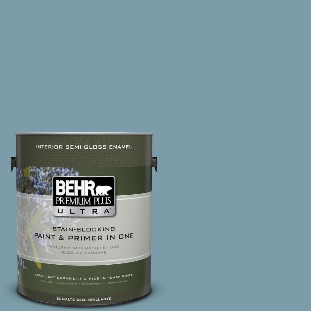 BEHR Premium Plus Ultra 1-gal. #S470-4 Dolphin Blue Semi-Gloss Enamel Interior Paint