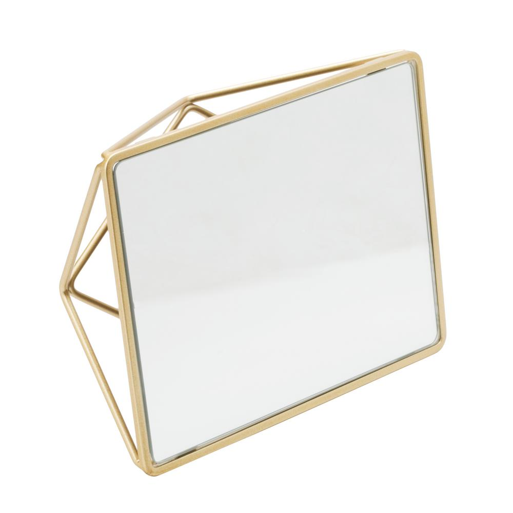 Home Details Geometric Design Vanity Mirror In Gold 26428 Sgold