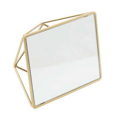 Geometric Design Vanity Mirror in Gold