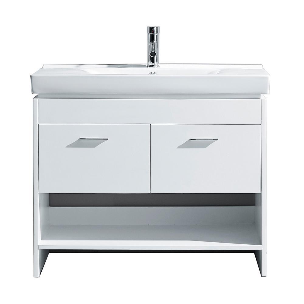 Virtu USA Gloria 36 in. W Bath Vanity in White with Ceramic Vanity Top in White Ceramic with Square Basin and Faucet
