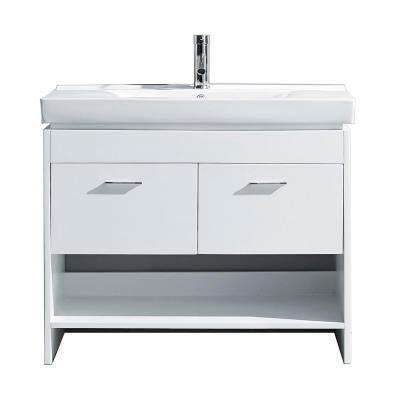 Gloria 36 in. W Bath Vanity in White with Ceramic Vanity Top in White Ceramic with Square Basin and Faucet