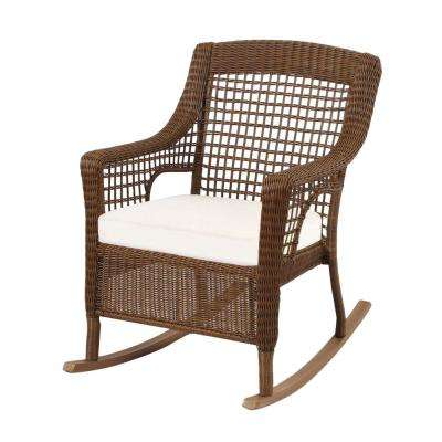 Swell Spring Haven Brown Wicker Outdoor Patio Rocking Chair With Cushions Included Choose Your Own Color Caraccident5 Cool Chair Designs And Ideas Caraccident5Info