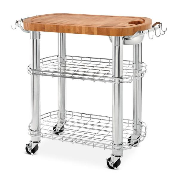 30 In W X 30 In D X 36 In H, Rolling Solid Acacia Wood Butcher Block Top  Kitchen Island Cart With Storage