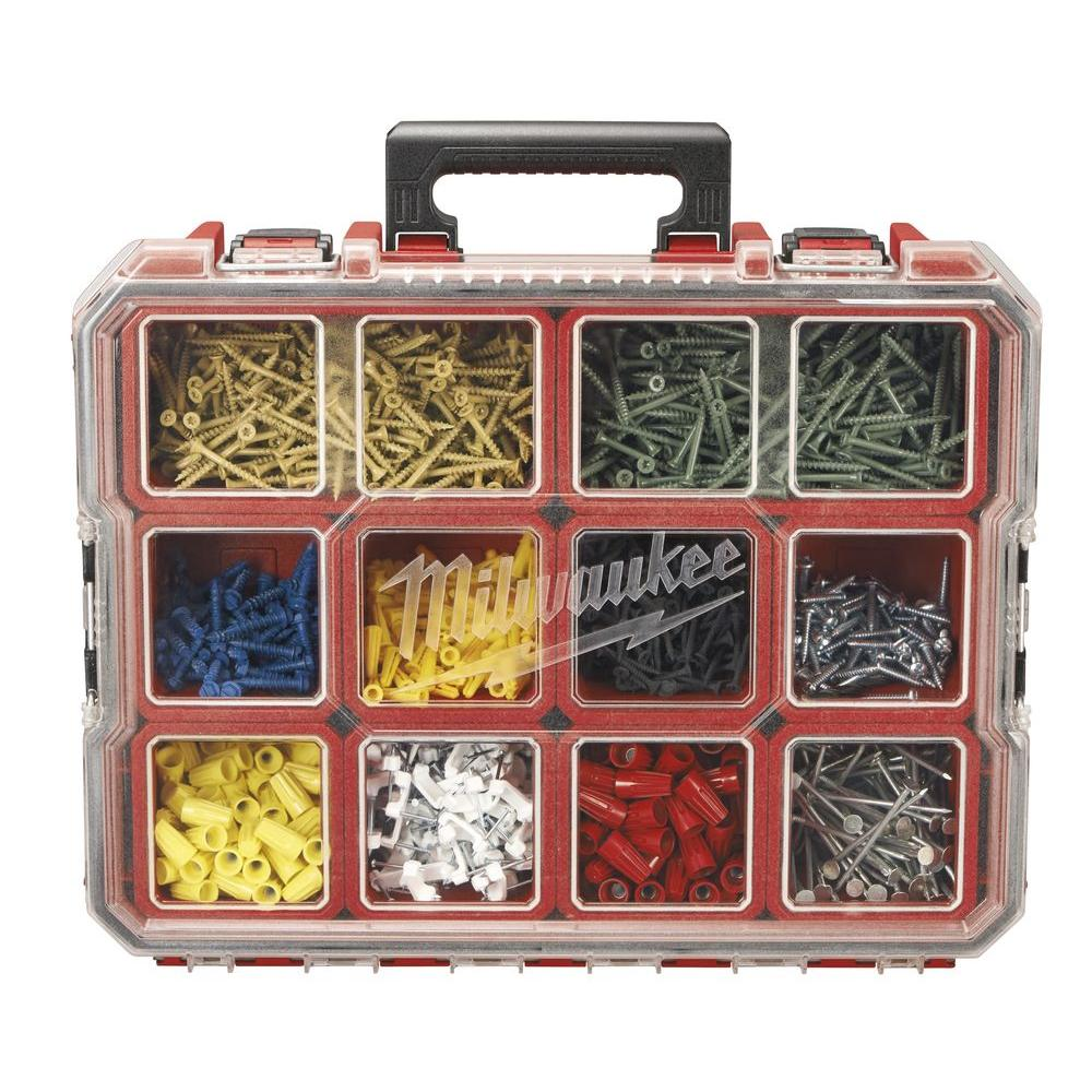 red milwaukee small parts organizers 225046 64_1000 milwaukee 10 compartment red deep pro small parts organizer 225046 fuse box home depot at gsmportal.co