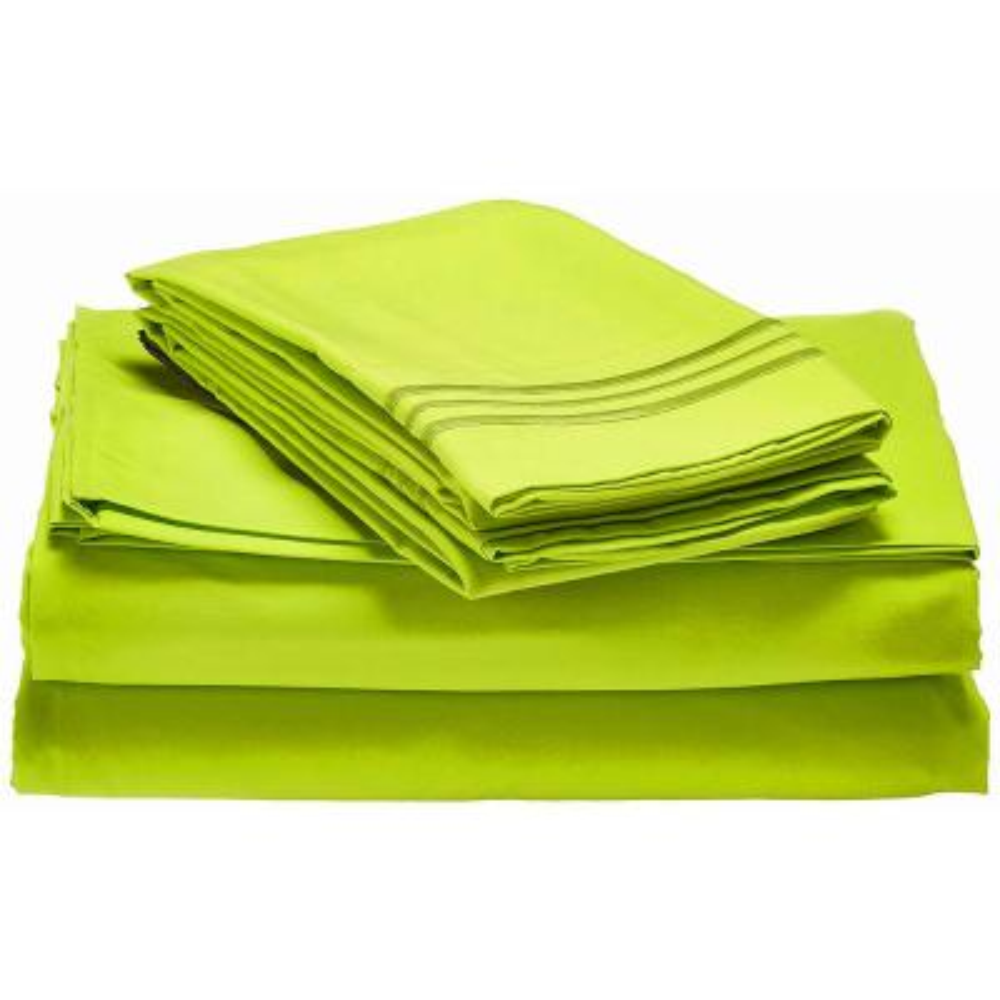 4-Piece Lime Solid Microfiber Queen Sheet Set