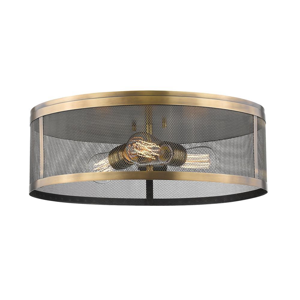 Rakel 3-Light Natural Brass Flush Mount with Natural Brass Steel Shade