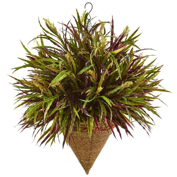 29 in. Variegated Autumn Grass Hanging Basket Artificial Plant