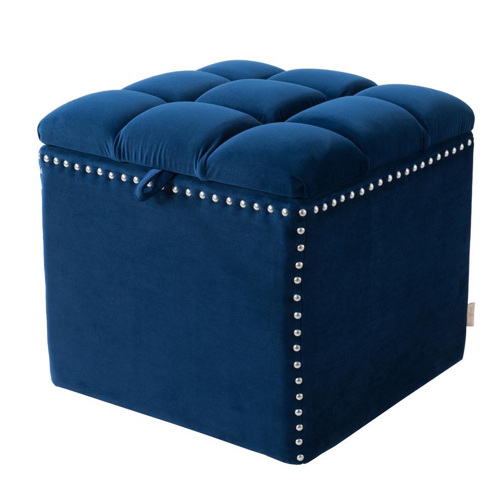 Natalia Navy Blue Storage Ottoman