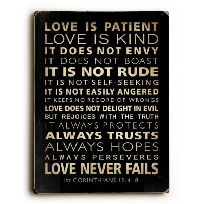 "9 in. x 12 in. ""Love is Patient"" by Nancy Anderson Solid Wood Wall Art"