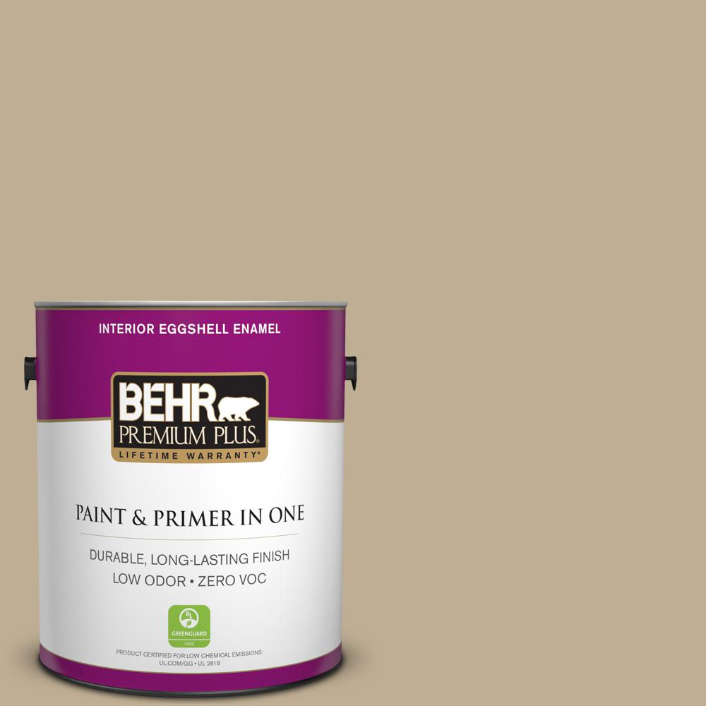 BEHR Premium Plus 1-gal. #740D-4 Mochachino Zero VOC Eggshell Enamel Interior Paint