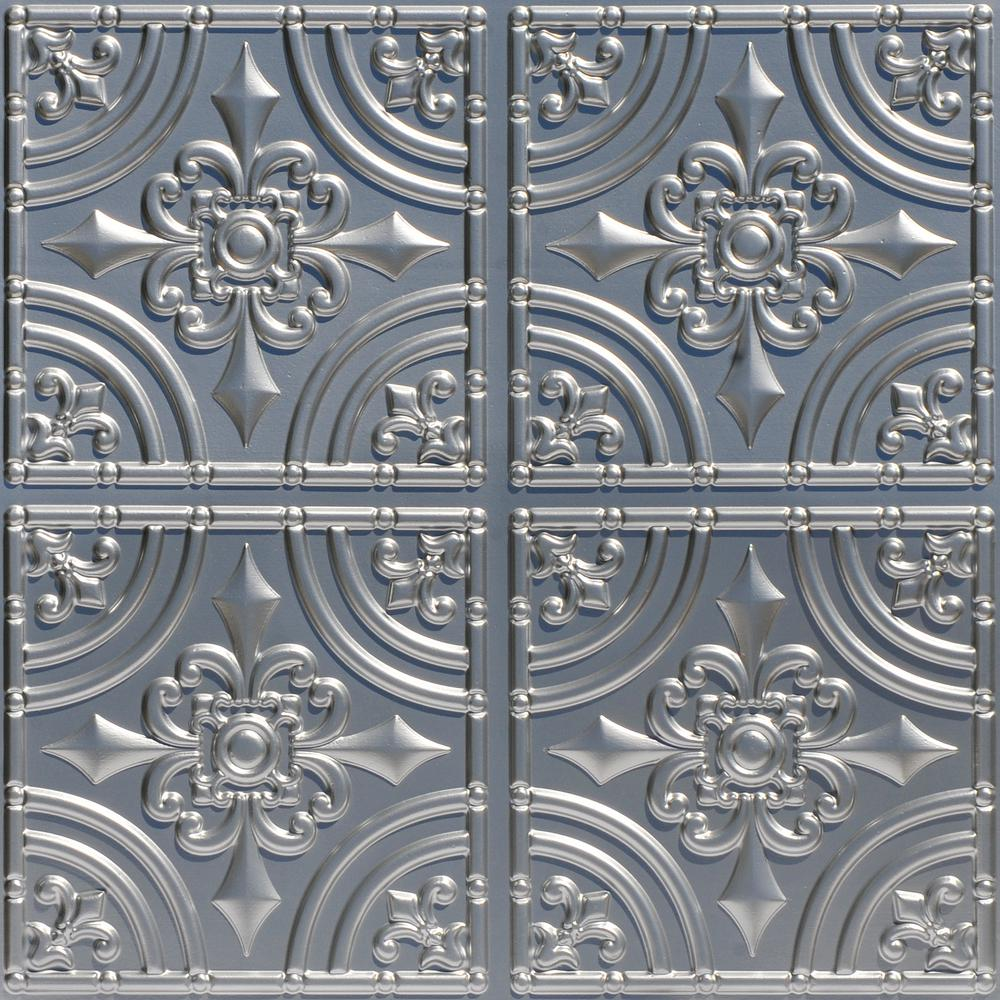 From Plain To Beautiful In Hours Wrought Iron 2 ft. x 2 ft. PVC Glue-up Ceiling Tile in Silver