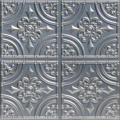 Wrought Iron 2 ft. x 2 ft. PVC Glue-up Ceiling Tile in Silver