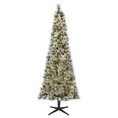 7 ft Sparkling Amelia Pine Slim LED Pre-Lit Artificial Christmas Tree with 300 Warm White Lights
