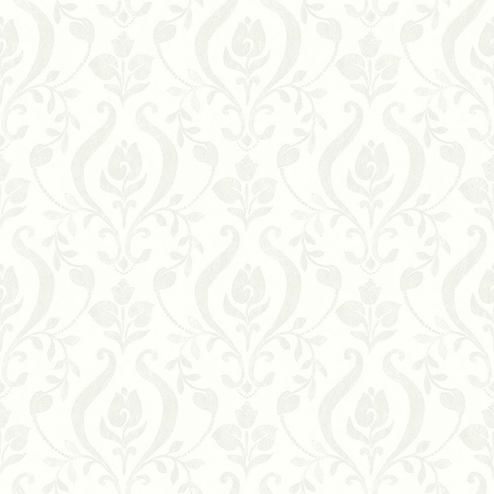 Eloise Ivory Damask Wallpaper Sample