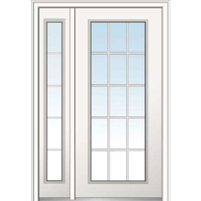48 in. x 80 in. Clear Glass 15 Lite Right Hand Classic Primed Fiberglass Smooth Prehung Front Door with One Sidelite