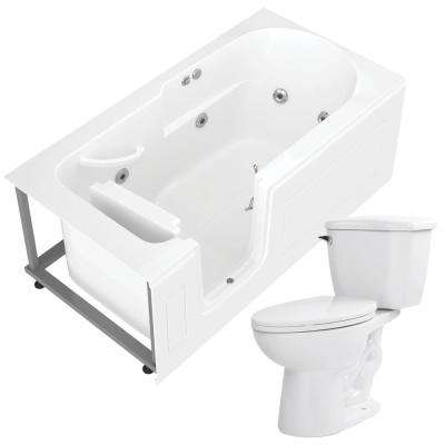 Step In 59.6 in. Walk-In Whirlpool Bathtub in White with 1.28 GPF Single Flush Toilet
