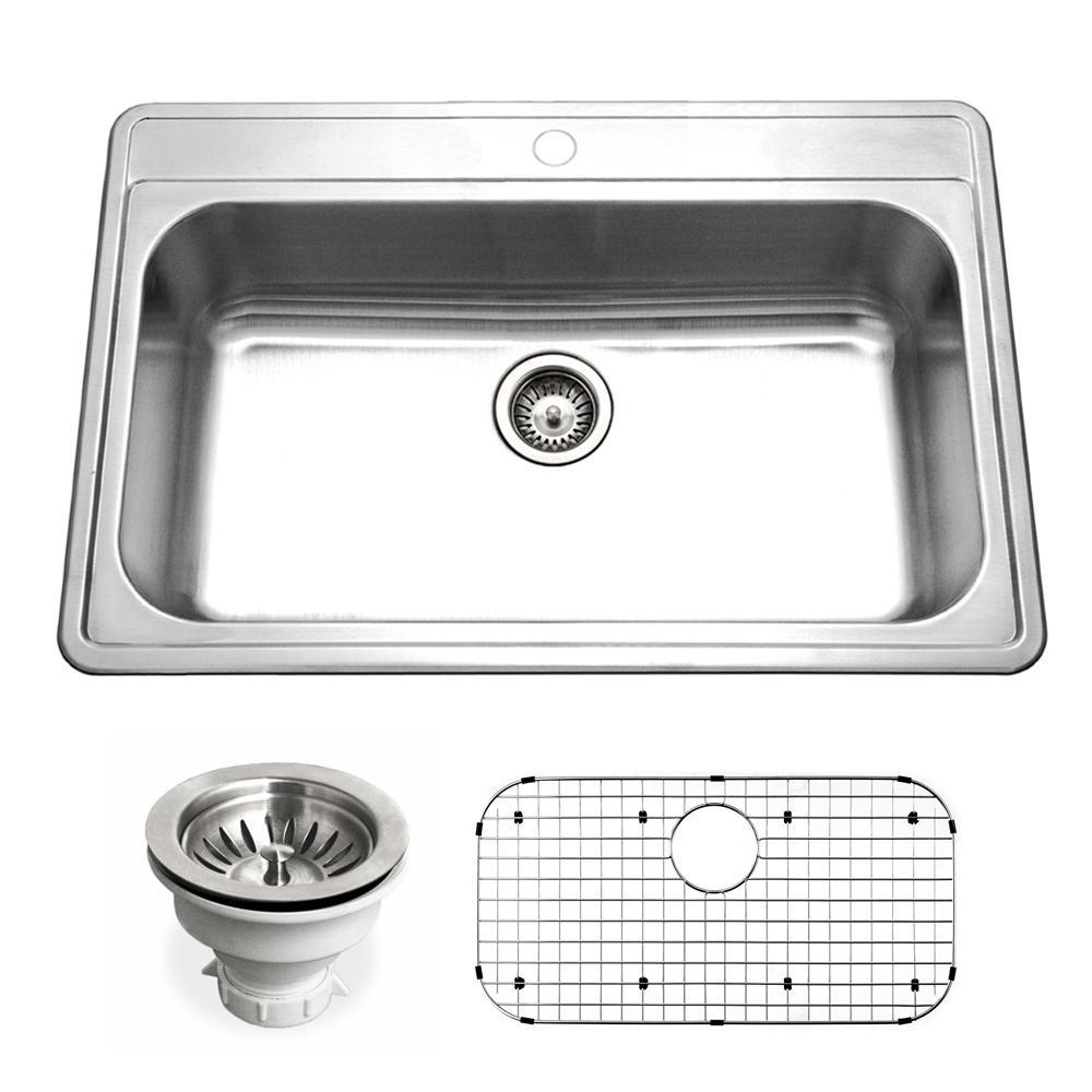Houzer V-100 Taupe Quartztone Topmount Large Single Bowl Sink