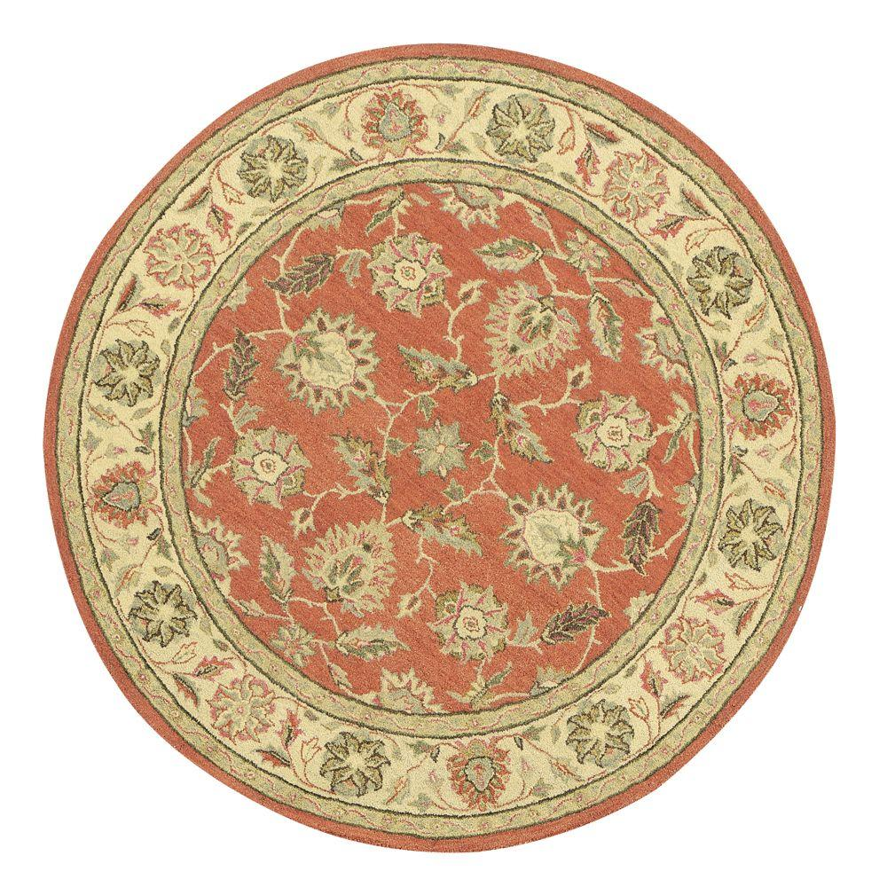 Old London Terra/Ivory 8 ft. x 8 ft. Round Area Rug