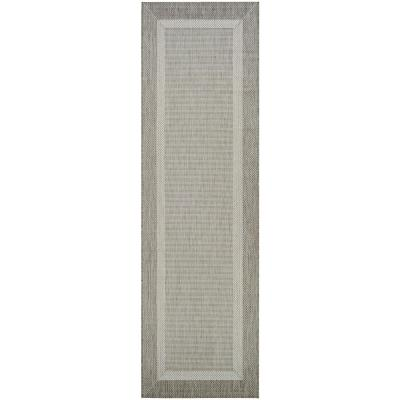 Recife Stria Texture Champagne-Taupe 2 ft. x 8 ft. Indoor/Outdoor Runner Rug