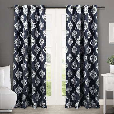 Medallion 52 in. W x 108 in. L Woven Blackout Grommet Top Curtain Panel in Peacoat Blue (2 Panels)