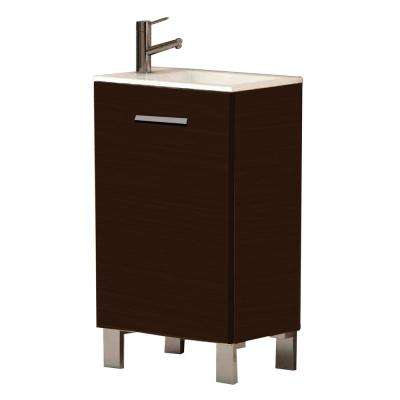 Kandy 20 in. W x 13 in. D x 34 in. H Vanity in Wenge (Dark Brown) with Acrylic Top in White with White Basin