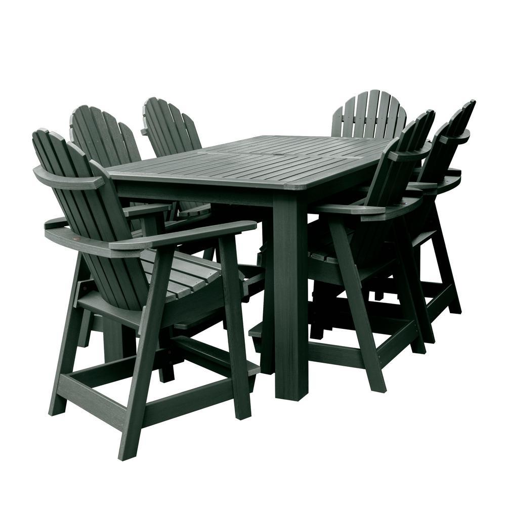 Hamilton Charleston Green 7-Piece Recycled Plastic Rectangular Outdoor Balcony Height Dining Set