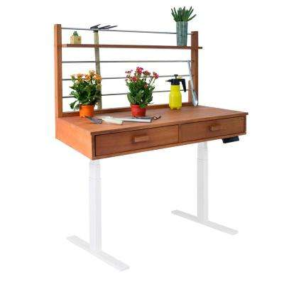 Sit to Stand 48 ft. x 26 ft. x 55 to 82 ft. Wood Potting Bench with White Frame
