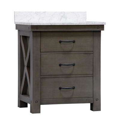 Aberdeen 30 in. W x 34 in. H Vanity in Gray with Marble Vanity Top in Carrara White with White Basin and Mirror