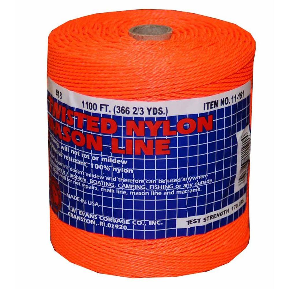 T.W. Evans Cordage #18 x 1100 ft. Twisted Nylon Mason Line in Orange