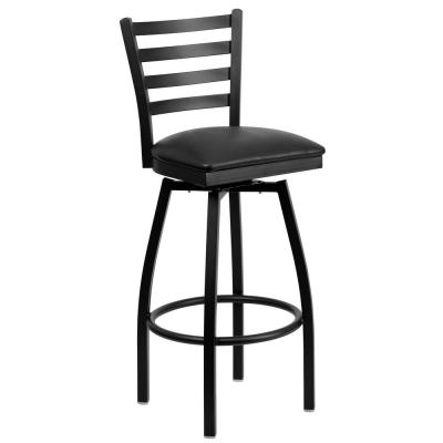 32 in. Black Swivel Cushioned Bar Stool
