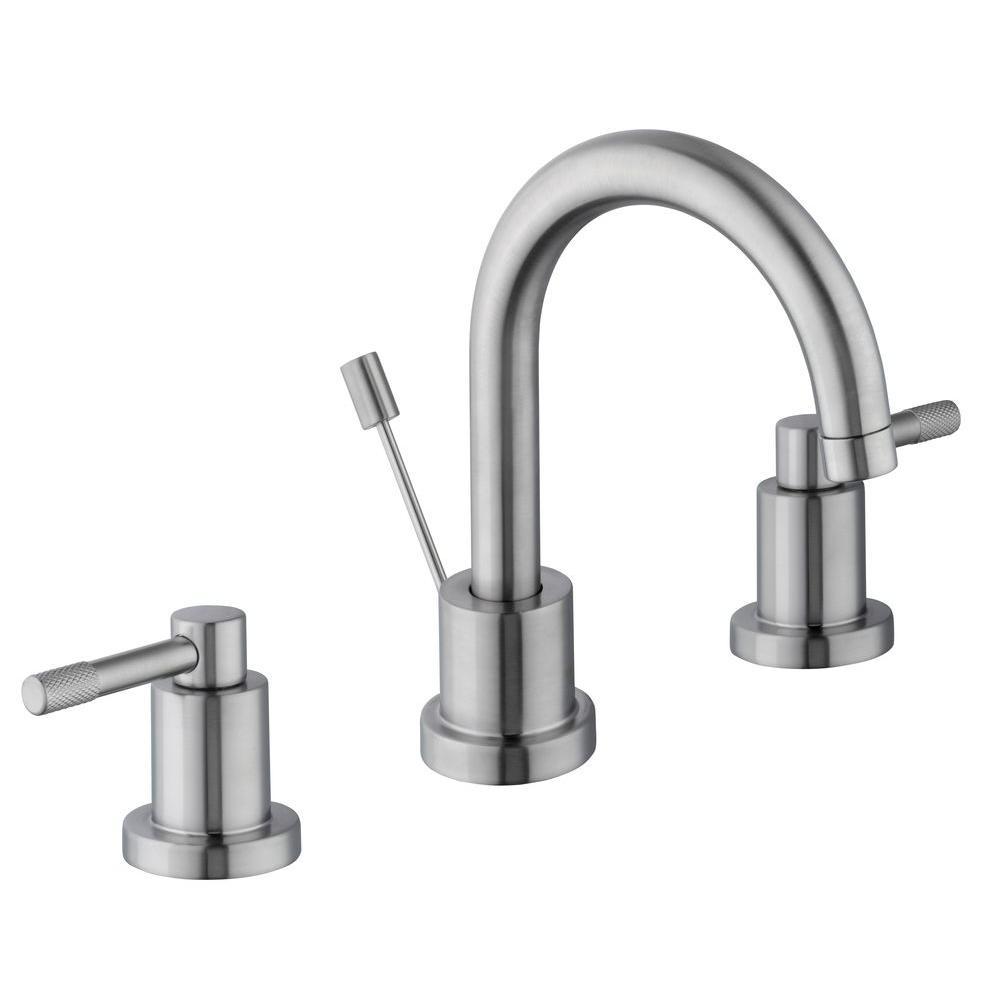 Glacier Bay Axel 8 In. Widespread 2 Handle High Arc Bathroom Faucet In