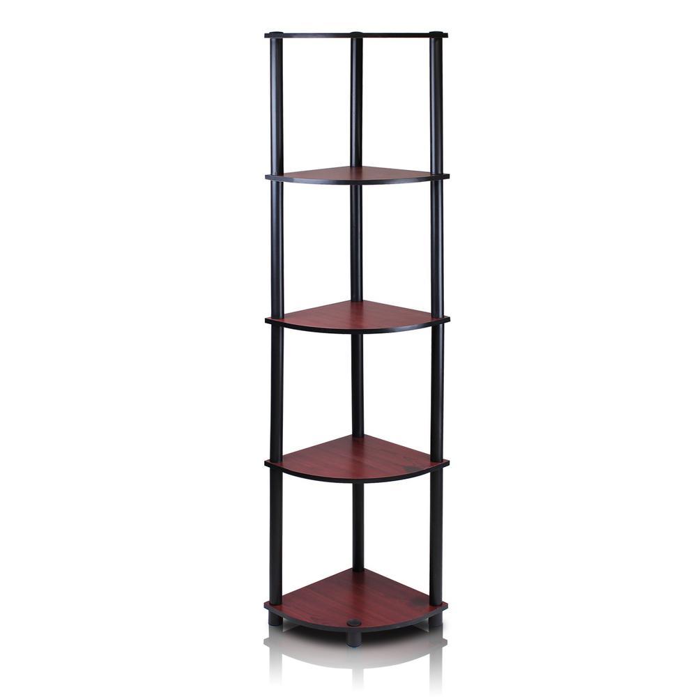 Furinno Turn-N-Tube Dark Cherry 5-Shelf Corner Open Shelf