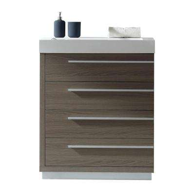 Bailey 30 in. W x 19 in. D Vanity in Grey Oak with Poly-Marble Vanity Top in White with White Square Basin