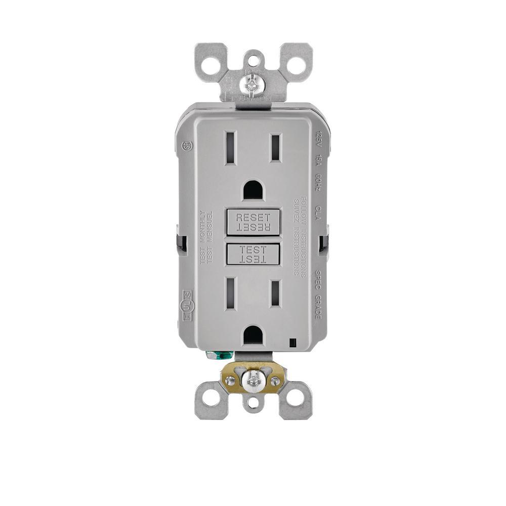 15 Amp 125-Volt Duplex SmarTest Self-Test SmartlockPro Tamper Resistant GFCI Outlet, Gray