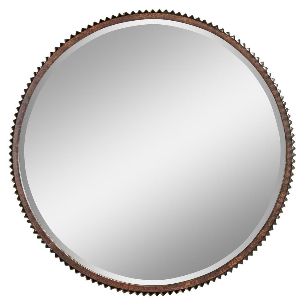 Medium Round Brown Hooks Mirror (23 in. H x 23 in. W)