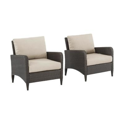 Kiawah Wicker Outdoor Lounge Chair with Sand Cushions (2-Pack)