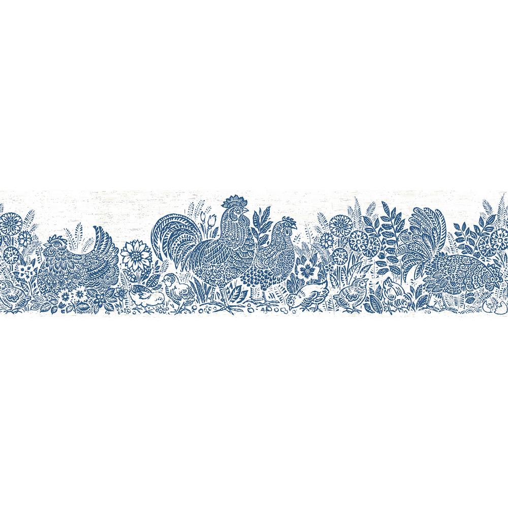 Parton Blue Chicken Blue Wallpaper Border