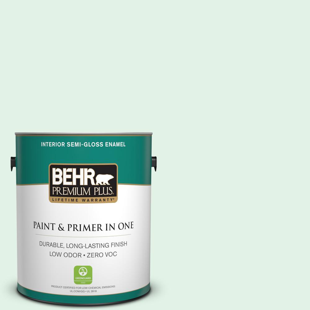 1 gal. #480C-1 Light Mint Semi-Gloss Enamel Zero VOC Interior Paint