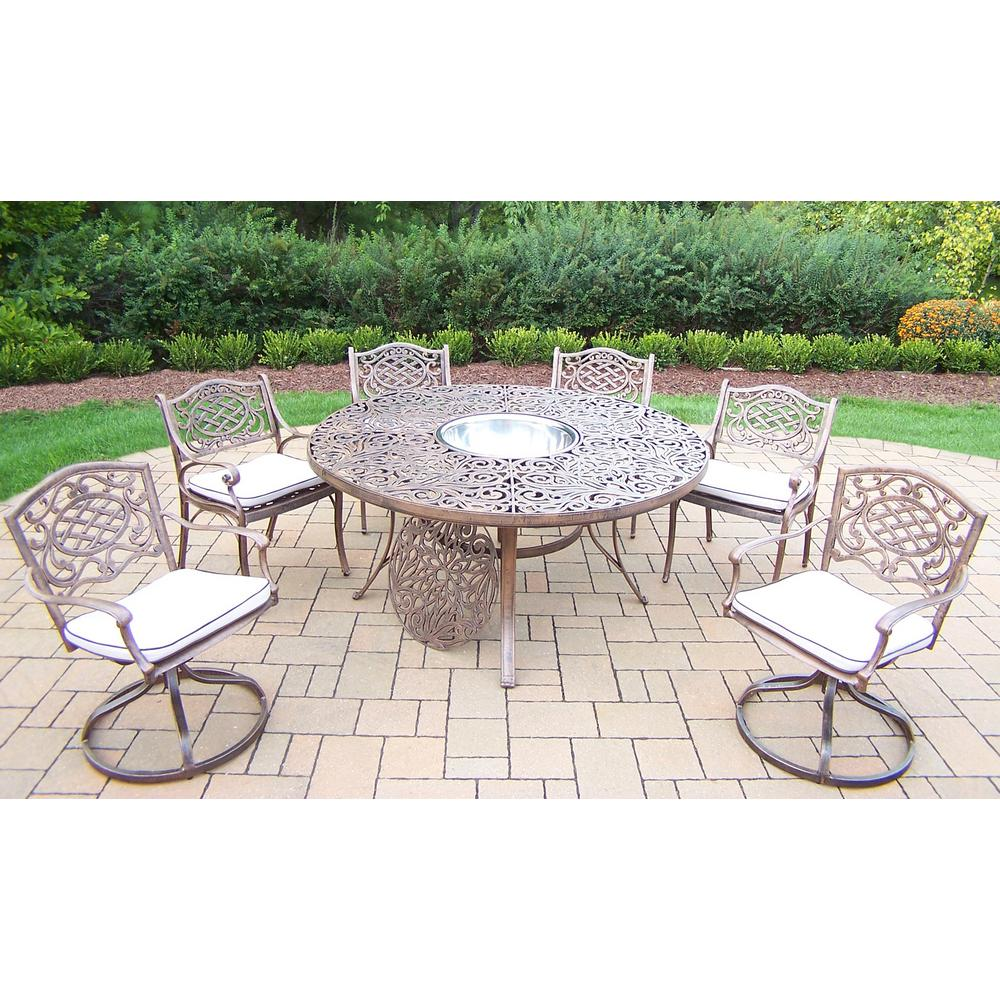 9 Piece Aluminum Outdoor Dining Set With Oatmeal Cushions And Stainless Steel Ice Bucket