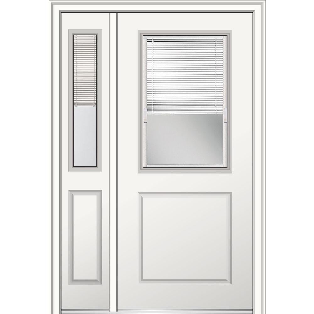 50 in. x 80 in. Internal Blinds Left Hand 1/2 Lite 1-Panel Primed Fiberglass Smooth Prehung Front Door with One Sidelite