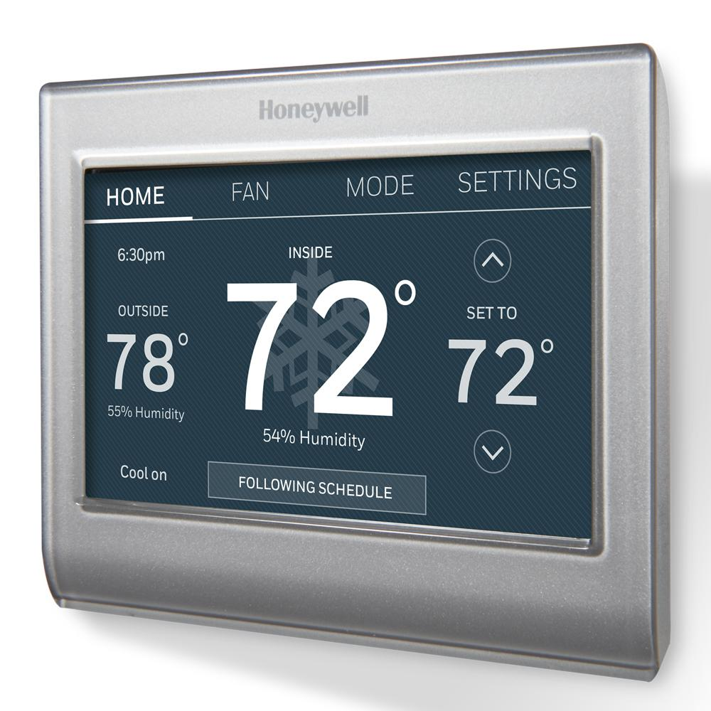 honeywell wi fi programmable touchscreen thermostat and free app rth8580wf the home depot. Black Bedroom Furniture Sets. Home Design Ideas