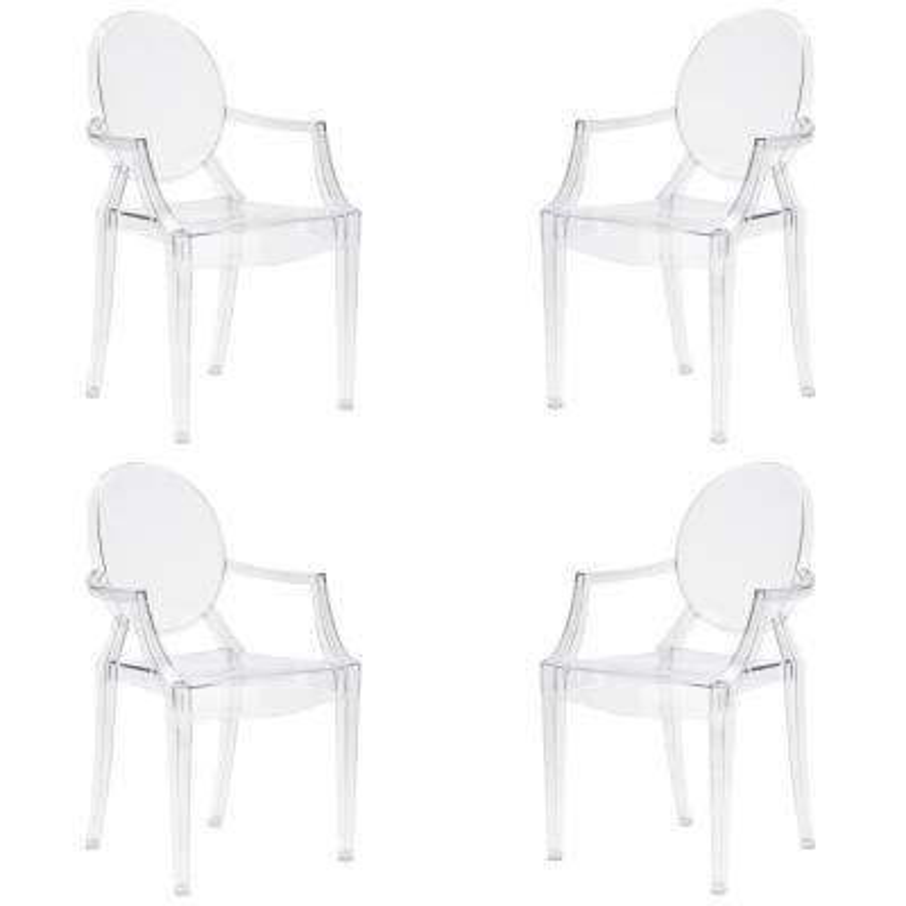 Burton Clear Arm Chair (Set of 4)