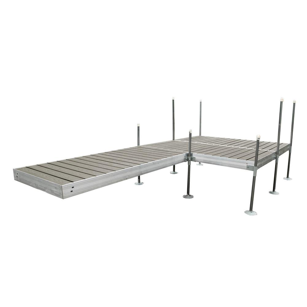 Tommy Docks 16 ft. L-Style with 8 ft. x 8 ft. Platform Section Aluminum Frame with Decking Complete Dock